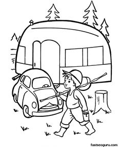 Printable coloring pages caravan car