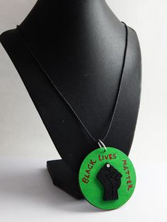 Black Lives Matter Necklace Mens RBG Power Fist Jewelry Hand Painted Wood Jewelry Gift Ideas for Him Black Pride Black Lives Matter BLM by TheBlackerTheBerry