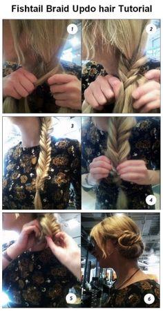 Fishtail Braid Updo hair Tutorial