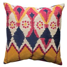 JAVA Ikat inspired Cotton Pillow design by Koko Company Bright Pillows, Ikat Pillows, Couch Pillows, Accent Pillows, Colorful Pillows, Applique Pillows, Modern Decorative Pillows, Modern Pillows, Surface Design