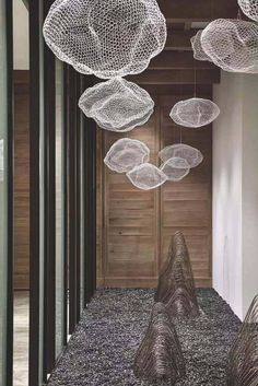 For Sale on - Unique chandelier where hundreds of small LED lights are combined with a handmade wire mesh sculpture shaped like a cloud. Six LED lights are mounted on Modern Lighting, Lighting Design, Office Lighting, Luxury Lighting, Lighting Ideas, Small Led Lights, Solar Lights, Lampe Art Deco, Plafond Design