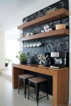 Creative Shelving Ideas for Kitchen – Diy Kitchen Shelving Ideas – Style Of Coffee Bar In Kitchen Coffee Nook, Coffee Bar Home, Home Coffee Stations, Coffee Area, Office Coffee Station, Coffee Bar Ideas, Coffee Station Kitchen, Coffee Mugs, Coffee Tables