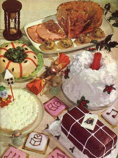 americana what do we do to food how dare we care its genetically modified look at this color vintage photo c christmas ham dinner dessert - Buffet Retro Cuisine