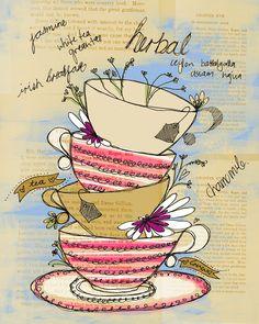 tea cups illustration