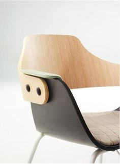 "BD Barcelona ""Showtime chair"" sled base. Chair, wood, paint, fabric"
