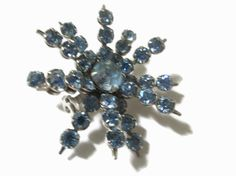 Rhinestone Brooch Vintage Sapphire Flower Pin  by PalmFrondJewelry
