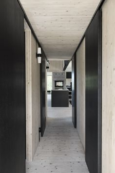 PB: Wood overkill again but black doors are cool. Interior Architecture, Interior And Exterior, Stair Builder, Timber Ceiling, Box Houses, Backyard Retreat, Black Doors, Cabin Design, Prefab Homes