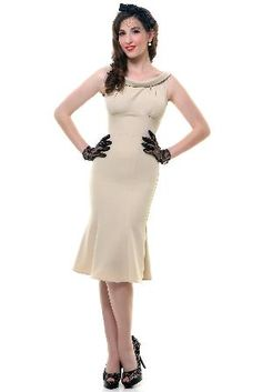 1940\'s Style Stop Staring Beige Calista Fitted Dress - Unique Vintage - Cocktail, Evening, Pinup Dresses