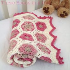 Tickled pink African flower baby blanket-free instructions