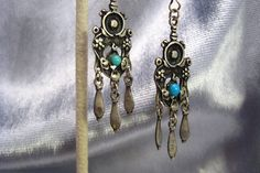 Fancy Green Malachite Sterling Silver Overlay 18 Grams Earring 2.5 Long Ancient Style