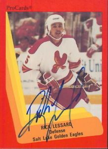 Salt Lake Golden Eagles goaltenders | 1990-91-PROCARDS-RICK-LESSARD-605-SALT-LAKE-GOLDEN-EAGLES-AUTOGRAPH ...