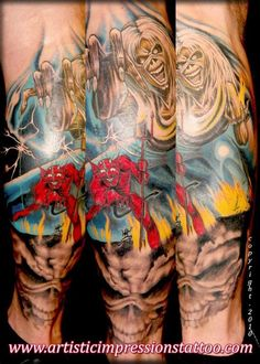 Iron Maiden tattooed by Spiro Kambitsis   Www.artisticimpressionstattoo.com     Original artwork, out of respect, DO NOT allow your tattoo artist to replicate. If they are good at their craft, they should be able to make you something while using this as inspiration. Be original.