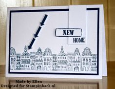STAMPINBACK.NL : New home Dutch, Buildings, New Homes, Greeting Cards, Houses, Crafty, Black And White, Tags, Design