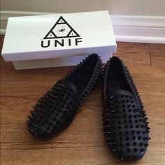 Unif Hellraisers Black Leather Spiked shoes Purchased 6 months ago. Worn less than a handful of times. Super soft leather. Black spikes all around, some are a bit damaged from wear (see pictures) but does not effect the quality of the shoe. Close to the style of a smoking loafer. Slightly heavier than your average shoe because of the spikes. Includes box & dust bag! True to size!   ✨I DO NOT: -hold -trade  ✨I DO: 10% discount off bundles of 2 or more Negotiate via offer button  ALL SALES…