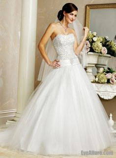 View larger photo     A-line Princess Strapless Chapel Train Satin Tulle Wedding Dress with Embroidery and Beading