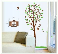 $5.11  - New Design Tall Tree with Green and Brown Leaves and Birds Wall Sticker Home Decor Decals *** Check out the image by visiting the link. (This is an affiliate link) #WallStickersMurals