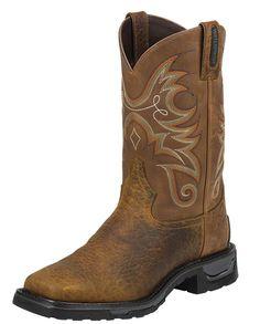 "Tony Lama Men's 11"" Brown Wide Square STEEL TOE Western Work Boots"