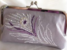 Handmade, hand cross stitched, beaded peacock clutch handbag. Purple, white, lavender. WHITE PEACOCK by Lella Rae.