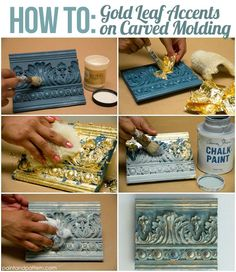 4 Chalk Paint Techniques for Carved Surfaces is part of painting Techniques Vintage - Want to learn some very easy and effective Chalk Paint(R) techniques for accenting carved surfaces Painting with Chalk Paint(R) decorative paint by Annie Sloan… Chalk Paint Techniques, Chalk Paint Projects, Chalk Paint Furniture, Furniture Projects, Furniture Makeover, Diy Projects, Paint Techniques Furniture, Gold Painted Furniture, Diy Furniture