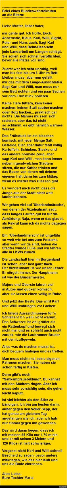 Brief eines Bundeswehrrekruten an die Eltern.. | DEBESTE.de, Lustige Bilder, Sprüche, Witze und Videos