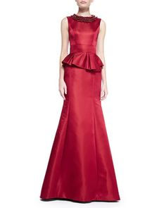 Sleeveless Beaded-Neck Peplum Gown by Theia at Neiman Marcus.