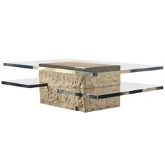 Two-Tiered Lucite and Travertine Coffee Table   From a unique collection of antique and modern coffee and cocktail tables at https://www.1stdibs.com/furniture/tables/coffee-tables-cocktail-tables/