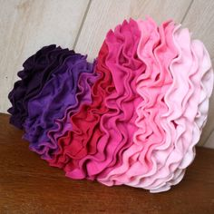 Plush fleece pink and purple ruffles heart decorative accent pillow for Valentine's Day