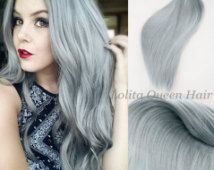 Silver Ombre Hair Extensions,Human hair Gray,Solid Silver Wigs,3 bundles hair weft one set