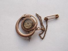 Georgian Rose Gold Coiled Snake Mourning Hair Brooch