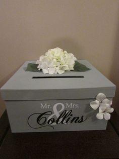 Grey Wedding Card Box, Grey Wedding Card Holder, Grey Gift Card Holder with Mr. and Mrs. Custom Name