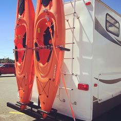 rv must haves | My husband built me this sweet kayak rack for the 5th wheel. Finally ...