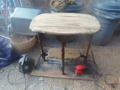 walnut side table before pic.