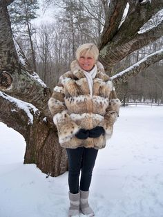 Chic Sporty Genuine Canadian Lynx Fur Jacket M L 10 12 #Custom #BasicJacket