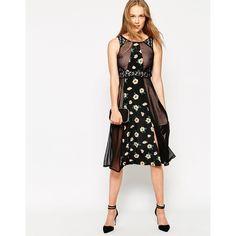 Jarlo Ali Midi Dress With Floral Print Inserts ($79) ❤ liked on Polyvore featuring dresses, beige floral, open back dress, zipper dress, midi dress, pink midi dress and pink floral dress
