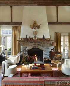 Love this living room and fireplace- Inside A Classic Connecticut Country Home Best Design Blogs, Best Interior, Interior Design, Room Interior, Celebrity Houses, Love Home, Elle Decor, House Tours, Living Spaces