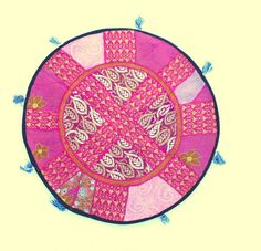 Indian Pink Fuschia Patchwork Handmade Oversized Round Floor Custion Boho Traditional Art- by PrintBlockStamps on Etsy
