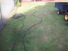 """Landscaping Project  use hose to make outline, dig at least 3"""" down, dig out all the grass, fill w mulch/rubber: picnic or playground area mow free"""