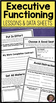 These executive functioning lessons for kids will help your upper elementary students learn about organization, goal setting, perseverance and staying on task. Includes 6 lessons with activities. Also includes data collection sheets to help monitor your students work completion. Perfect for IEP data collection, and for students who struggle with executive functioning. Can be used in individual, small group or classroom school counseling lessons!
