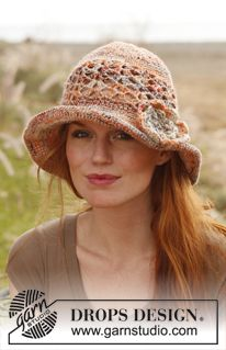 """Crochet DROPS hat with flower in """"Fabel"""" and """"Lin"""". ~ DROPS Design"""