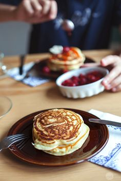 Delicious, fluffy homemade pancakes, strawberry sauce and creme fraiche. | jernejkitchen.com