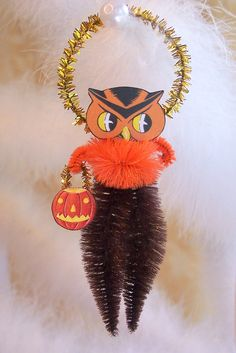 Owl Vintage Style Chenille Feather Tree Ornament. $8.95, via Etsy.