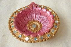 Diwali Round Shaped Terracotta Diya Rangoli Traditional