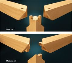 2 Ways to Cut a Miter Create this impressive joint by hand or with power tools. By Garrett Glaser Admiring the complex mitered joint between the leg and aprons in an antique Chinese table… Woodworking For Kids, Woodworking Joints, Woodworking Patterns, Woodworking Techniques, Popular Woodworking, Woodworking Furniture, Custom Woodworking, Woodworking Crafts, Woodworking Plans