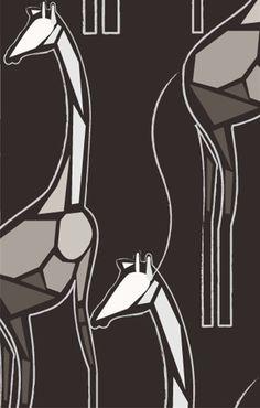 Cutpaper Giraffe Wallpaper in Black, Tan and Vintage White design by Kreme at BURKE DECOR, 30 sq. feet, $199 !!