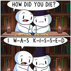 Kissed by a ghost? Odd ones out; one of my favorite odd u tuberz. Funny Vid, Crazy Funny Memes, Really Funny Memes, Stupid Funny Memes, Funny Relatable Memes, Hilarious, Theodd1sout Comics, Cute Comics, Funny Comics