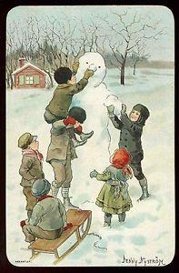 Vintage 1920's Children Build Snowman Christmas Greeting Card Jenny Nystrom Art