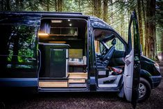 2007 Mercedes Benz Sprinter with a wheelbase of 170 van conversion into a home on wheels. A home designed and built for fixing and riding mountain bikes! Van Conversion Layout, Van Conversion Interior, Sprinter Camper, Benz Sprinter, Mercedes Benz, Caddy Van, Riding Mountain, Sprinter Van Conversion, Van Camping