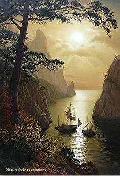 """art-and-dream: """" Art painting wonderful style by Vlaschenko Valentine. Beautiful World, Beautiful Places, Beautiful Pictures, Foto Transfer, Dream Art, Tall Ships, Fantasy Art, Art Photography, Scenery"""