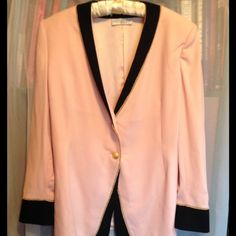 ST JOHN GRIFFITH & GRAY JACKET BLAZER A soft powder pink linked vintage jacket.  This jacket is lined and has 2 heavily gold plated buttons.  The black trim compliments the jacket, there is a gold cording  for accent.  This is a three quarter length jacket with should pads. This jacket is clean and is in good used condition. .  Approx 28 inches long, 19 inches arm pit to arm pit ST JOHN Jackets & Coats Blazers