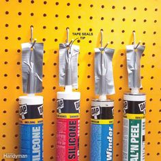Caulk tubes: Fold a piece of duct tape over the open tube to seal it, leaving a few inches of extra tape. Drive a nail through the tape and hang the tube on pegboard. #woodworkingtips